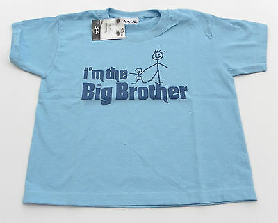 "Dirty Fingers T Shirt boy 3-4 years blue ""I'm the big Brother"" BNWT"