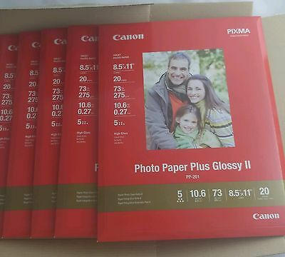"""Canon Photo Paper Plus Glossy II 8.5""""x11"""" (100 Sheets, 5 x 20) PP-201 2311B001"""