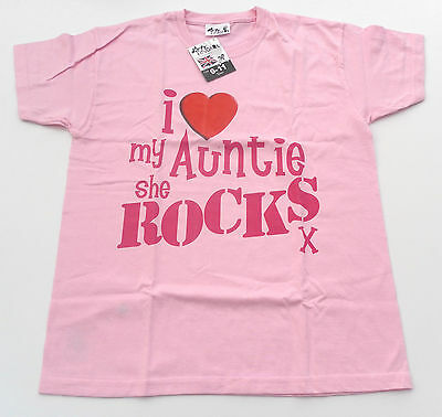 "Dirty Fingers T Shirt boy/girl, pink ""I love my Auntie she rocks""  BNWT"