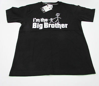 "Dirty Fingers T Shirt boy 7-8 years black ""I'm the big Brother"" BNWT"