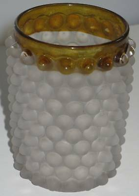 Vintage Collectible Tumbler  Frosted Hobnail Amber Top