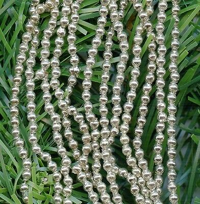 "588 + micro 3mm Hollow Silver VINTAGE MERCURY GLASS GARLAND BEADS HANK 72"" Japan"
