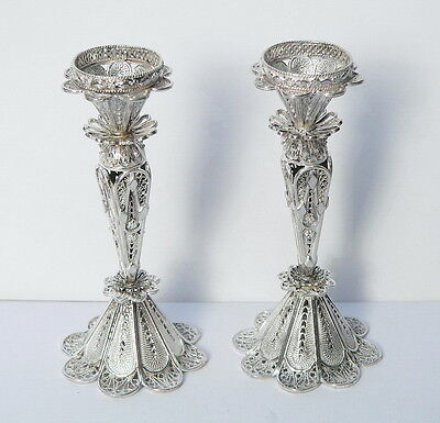 Pair Silver Filigree Flower Design Shabbat Candle Holders Sticks Judaica Jewish