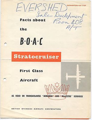 Boac Stratocruiser First Class Info Brochure Seat Maps B.o.a.c.
