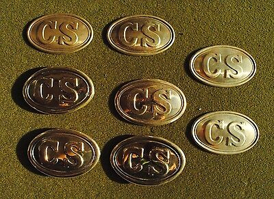 8 x American Civil War Unfinished Confederate State Buckles Plates in Brass