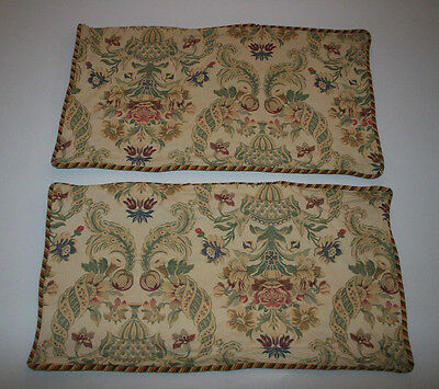 Vintage Damask Jacquard Brocade Tapestry Fabric French Embroidered King Shams