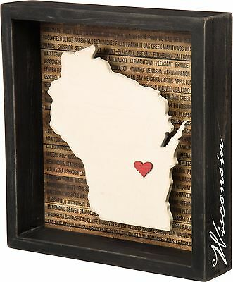 WISCONSIN Primitives by Kathy Favorite Place State Box Sign