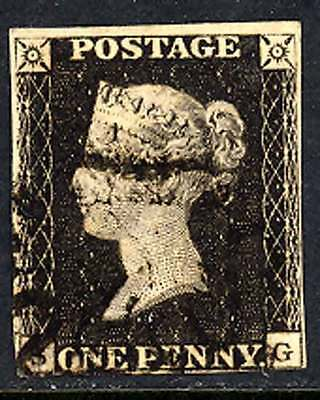 GREAT BRITAIN 1840,  QV  Penny black VF used
