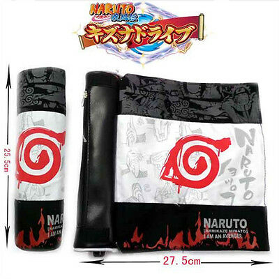 Anime Naruto Konoha Canvas Pen Bag Pencil Case Roll Up Stationery Cosplay Gift