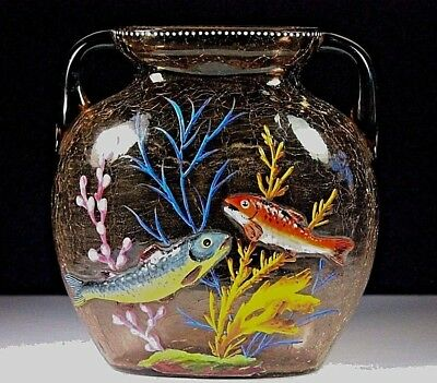 Antique Bohemia Moser Amber Crackle Art Glass Vase Enamel Fish C.1890-1910