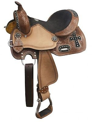 "10"" Double T Youth Barrel Style Western Saddle W/ Cross Design & Rhinestones!"