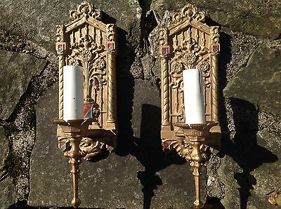 GREAT Antique PAIR Bronze ARTS & CRAFTS Spanish Revival WALL SCONCES 1910s-1920s