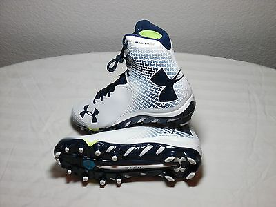 Under Armour Spine Brawler Lacrosse Cleats - White/Navy - $150 Retail