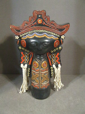 Vintage Thai Indonesian Painted Clay Woman Figurine