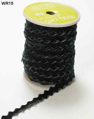 "May Arts Ribbon 1//2/"" Ric Rac Trim ARR10-5 yds Black"