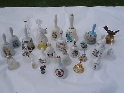 Vintage 28 Picies Collection Of Glass Bells With Ringer
