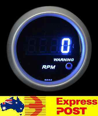 "Black Face Blue LED Digital 2"" 52mm Tacho 0 - 9,999 RPM Rev Gauge Tachometer Car"