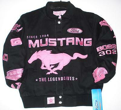 SIZE 2XL Authentic Ford Mustang Racing Women Cut Pink Cotton Jacket JH Design