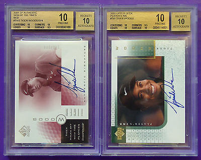 Tiger Woods 2001 HIGH END BGS 10 SPA Red & UD Player's Ink Autograph RC POP (3)