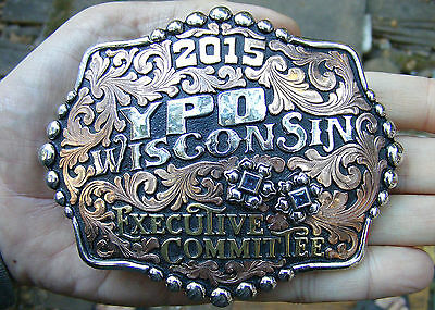 "Silver YPO CHAMPION Belt Buckle 2015 Award BERG Wisconsin RODEO Trophy 5"" MINT"