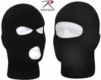 Black One Hole or Three Hold Winter Facemask - Rothco Fine Knit Ski Face  Mask 84d80d0e6ae