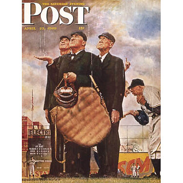 """Norman Rockwell Baseball Umpire Canvas Picture Framed 20"""" Wall Hang Xmas Gift"""