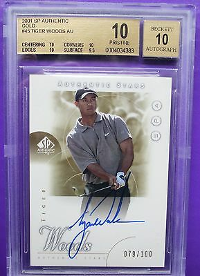 SN 79/100 (POP 3) 2001 SP Authentic Tiger Woods GOLD Rookie Autograph BGS 10