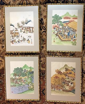Vintage Set Original Chinese Watercolors Four Seasons Framed w/ Non-Glare Glass
