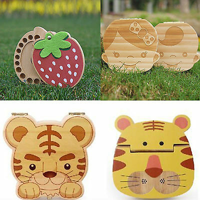 New Cute Tooth Box organizer for baby Save Milk teeth Wood storage box for kids