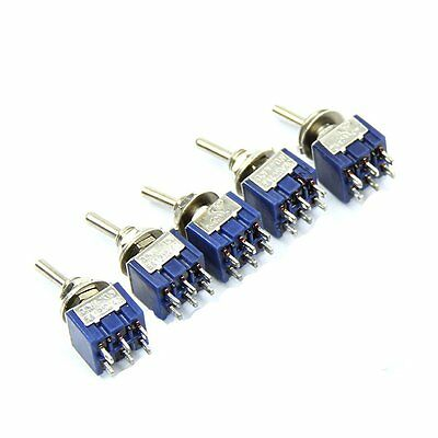 5PCS 6P Toggle Switch 6A 125VAC 6 Pin DPDT ON-ON Mini Toggle Switch New