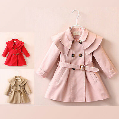 Girls Autumn Double-Breasted Trench Coat Kids Belted Wind Jacket Dress Size 3-7Y