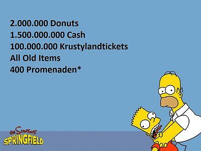 The Simpsons Tapped Out - Donuts, Cash, Krustylandtickets Old Items #BIG2