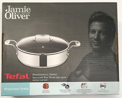TEFAL Jamie Oliver Saute Pan Professional 25cm S/Steel shallow pan with lid