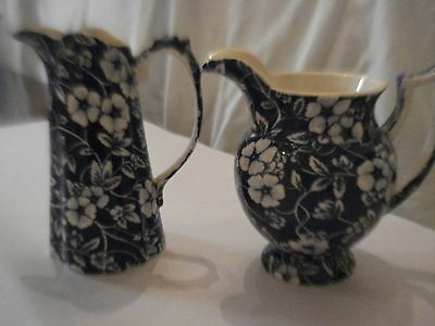 Set of 2 Vintage Lord Nelson Porcelain Minature Jugs Blue and White Floral