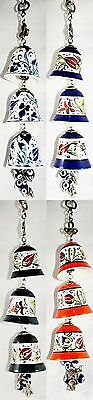 Turkish Hand Painted Triple Hanging Ceramic Bells Elephants And Beads Ornament