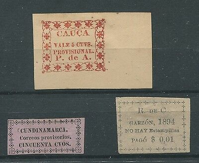 Colombia Local Stamp Issues Cauca Cundinamarca And Garzon Provisionals