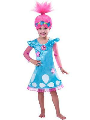 Child 3-4yrs Trolls Poppy Troll Doll Fancy Dress Costume & Wig Kids Girls Outfit