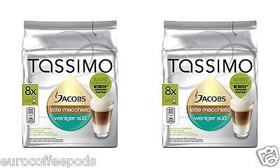 Tassimo Jacobs Latte Macchiato Less Sweet Coffee 2 Pack 32 T Disc 16 Servings