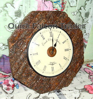 Wooden BRASS DESIGN BROWN Wall Clock Analog Home Decor Decorative