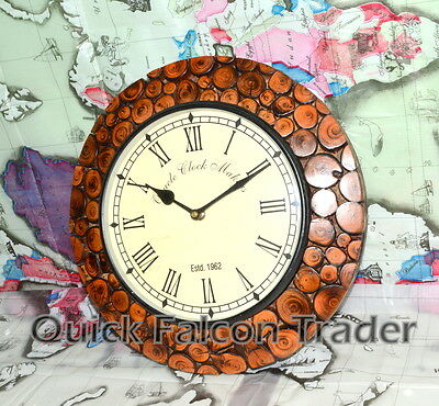 Vintage Wooden Wall Clocks Kitchen Antique Home DECOR EMBOSSED BRASS