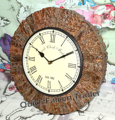 Vintage Rustic Wooden large Brown Wall Clock Home Antique Home Decor Wood