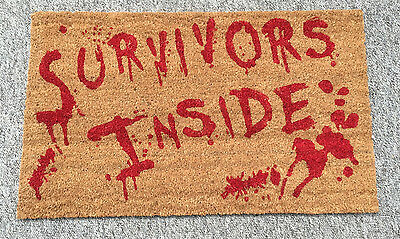 NEW Zombie Survivors Inside Doormat Halloween Party Coir Walking Door Mat Dead