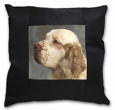 Clumber Spaniel Dog Black Border Satin Scatter Cushion Christmas Gif, AD-CS1-CSB