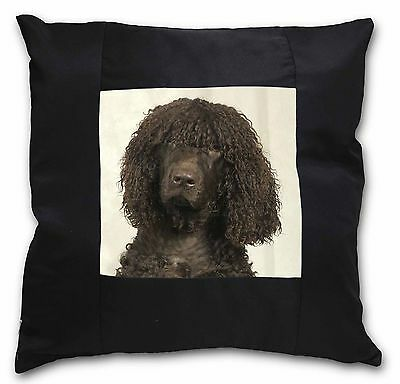 Irish Water Spaniel Dog Black Border Satin Scatter Cushion Christmas, AD-IWS-CSB