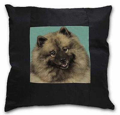 Keeshond Dog Black Border Satin Scatter Cushion Christmas Gift, AD-KEE1-CSB