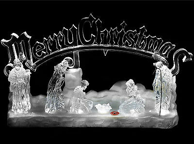 Large Ice Effect Light Up Musical Christmas Nativity Scene Plays Christmas Hymns