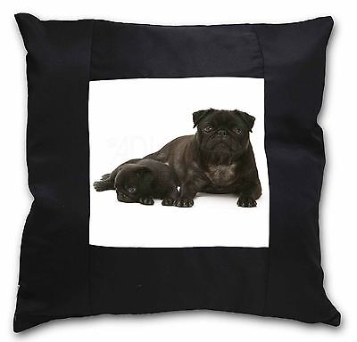 Pug Dog and Puppy Soft Velvet Feel Cushion Cover With Inner Pillow AD-P91-CPW