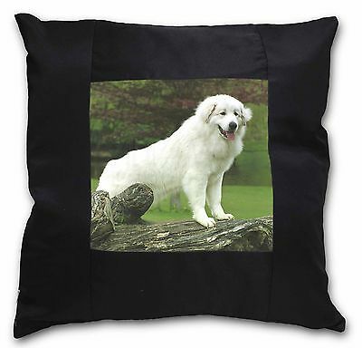 Pyrenean Mountain Dog Black Border Satin Feel Cushion Cover With Pil, AD-PM1-CSB