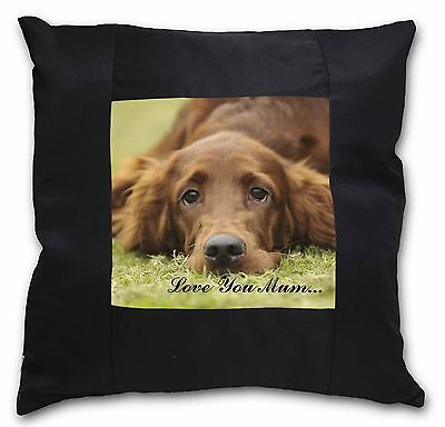 Red Setter Dog 'Love You Mum' Black Border Satin Scatter Cushion , AD-RS2lym-CSB