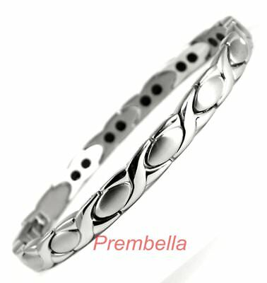 Ladies Double Stainless Steel Magnetic Therapy Bracelet - Arthritis Pain Relief